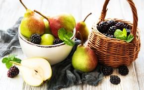 Картинка ягоды, фрукты, корзинка, груши, ежевика