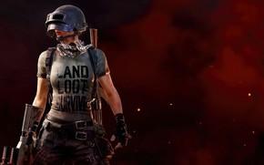 Картинка девушка, фон, футболка, шлем, PlayerUnknown's Battlegrounds