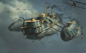Обои Рисунок, Самолеты, Судно, Арт, Art, Фантастика, Concept Art, WW1, Воздушное судно, Eddie Bennun, Ilustration, Flying ...