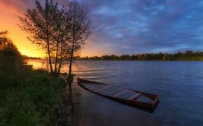 Картинка лето, небо, вода, деревья, закат, река, вечер, Олонцев Андрей