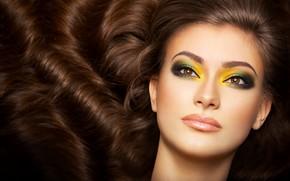 Картинка девушка, лицо, макияж, тени