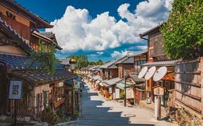 Картинка Япония, Japan, Kyoto, летний день, городская улица, деревянные дома