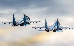 Картинка ПАРА, КРЫЛЬЯ, ПОЛЁТ, САМОЛЁТЫ, ИСТРЕБИТЕЛИ, СОПЛА, Су-30СМ