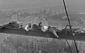 Картинка ретро, отдых, Нью-Йорк, США, Манхэттен, строители, 1930