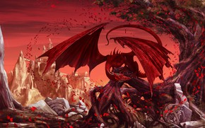 Картинка Красный, Листья, Крылья, Fantasy, Dragon, Art, Фантастика, Illustration, Creatures, Godfrey Escota, by Godfrey Escota, Arteris