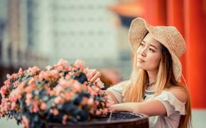 Картинка девушка, цветы, букет, шляпа, азиатка, милашка, боке
