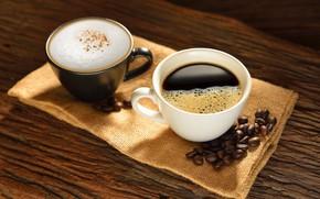 Картинка кофе, напиток, Чашки, кофейные зёрна, Капучино