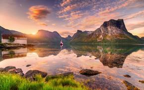 Картинка облака, закат, скалы, лодка, остров, Норвегия, Norway, Ed Gordeev, Husfjellet