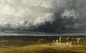 Картинка тучи, буря, картина, Жорж Мишель, Georges Michel, Штормовой пейзаж с руинами на равнине