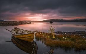 Картинка небо, закат, озеро, лодка, Allan Pedersen