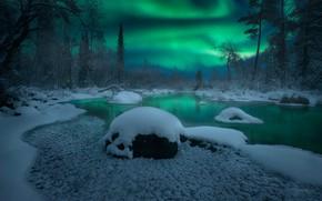 Картинка зима, лес, снег, деревья, река, северное сияние, Россия, Кольский полуостров