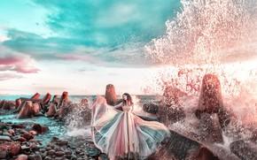 Картинка вода, камни, Девушка, платье, Мария Липина