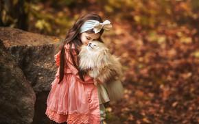 Картинка осень, настроение, собака, дружба, девочка, бант, друзья, боке, шпиц, Анастасия Бармина
