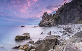 Картинка море, природа, камни, скалы, рассвет, бухта, утро, Крым, Рыбачье