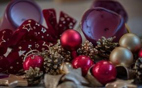 Картинка звезды, шарики, праздник, шары, свечи, Рождество, красные, Новый год, бант, шишки, боке, ёлочные игрушки, новогодние …