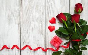 Картинка любовь, подарок, розы, сердечки, красные, red, love, romantic, hearts, valentine's day, roses, gift box