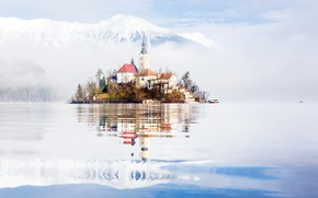 Картинка туман, утро, Словения, озеро Блед