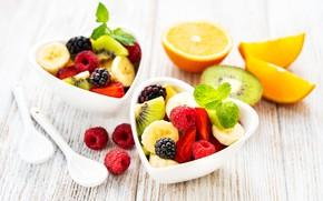 Картинка ягоды, чашки, фрукты, салат, фруктовый