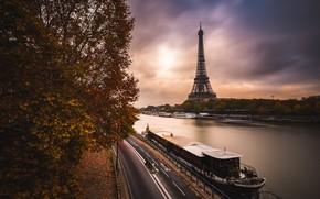 Картинка дорога, осень, тучи, город, река, Франция, Париж, вечер, Сена, Эйфелева башня