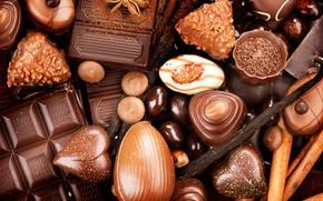 Картинка шоколад, конфеты, сладкое, ваниль