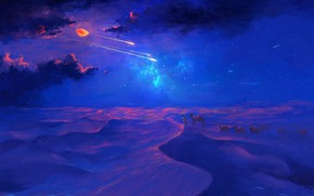 Картинка moon, sky, desert, eclipse, night, art, clouds, stars, artist, digital art, artwork, shooting stars, camels, …