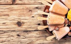 Картинка доски, тарелка, мороженое, орехи, много, десерт, эскимо, фундук, ореховое