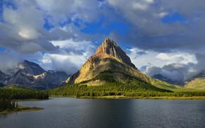 Картинка Природа, Облака, Горы, Озеро, Лес, Пейзаж