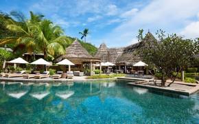 Картинка пальмы, бассейн, Сейшелы, отель, бунгало, Constance Ephelia Resort