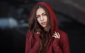 Картинка girl, long hair, brown hair, brown eyes, photo, photographer, model, lips, face, brunette, portrait, hood, …