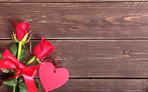 Картинка цветы, red, сердце, любовь, розы, romantic, valentine's day, roses, wood, love, heart