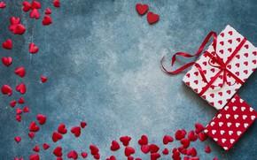 Картинка любовь, подарки, сердечки, red, love, romantic, hearts, valentine's day, День Валентина, gift box