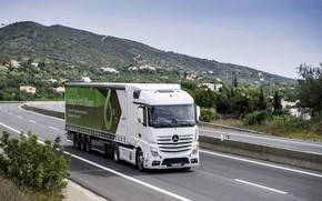 Картинка белый, холмы, растительность, Mercedes-Benz, трасса, седельный тягач, 4x2, Actros, полуприцеп