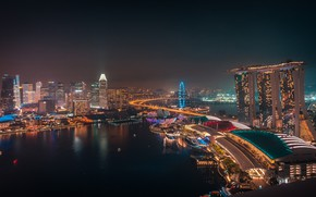 Картинка ночь, город, огни, панорама