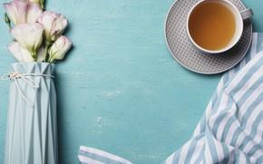 Картинка цветы, фон, pink, flowers, cup, tea, эустома, чашка чая, eustoma