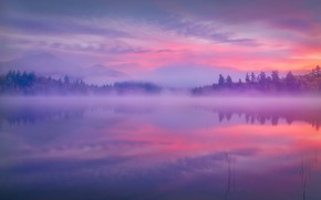 Картинка горы, туман, озеро, отражение, рассвет, утро, штат Нью-Йорк, Adirondack Park, Парк Адирондак, New York State