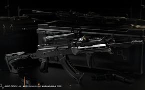 Картинка рендеринг, оружие, тюнинг, Автомат, Gun, weapon, render, Калашников, рендер, 3d art, АКМ, Штурмовая винтовка, Русский, …