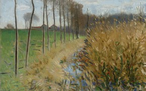Картинка пейзаж, картина, Пьер Эжен Монтезин, Pierre-Eugene Montezin, Водопой в Мизи-Сюр-Ион