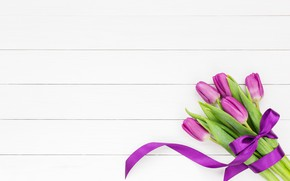 Картинка букет, лента, тюльпаны, розовые, white, with, tulips, bow, bouquet, ribbon