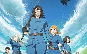 Картинка небо, солдаты, персонажи, дерижабль, Drifting Dragons
