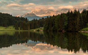 Картинка лес, горы, отражение, Альпы, домик