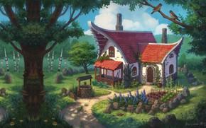 Картинка лес, фэнтези, арт, домик, огород, детская, Nelly Amosova, Fantasy sketch