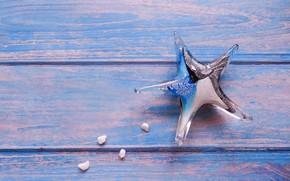 Картинка стекло, морская звезда, синий фон, широкоформатные, background, камушки, обои на рабочий стол, полноэкранные, HD wallpapers, …