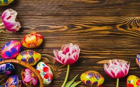 Картинка цветы, яйца, пасха, тюльпаны