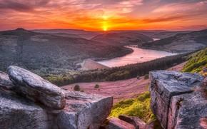 Картинка пейзаж, закат, плотина