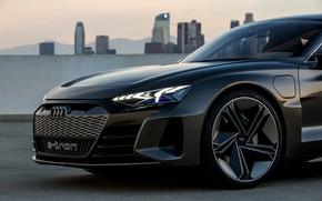 Картинка Audi, купе, 2018, передняя часть, e-tron GT Concept, четырёхдверное