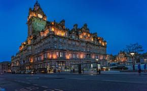 Обои Шотландия, Edinburgh, Эдинбург, Scotland, отель, Balmoral Hotel, дорога, здание