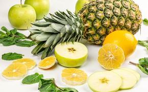 Картинка листья, яблоки, фрукты, ананас, лимоны, дольки, боке