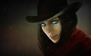 Картинка взгляд, девушка, шляпа