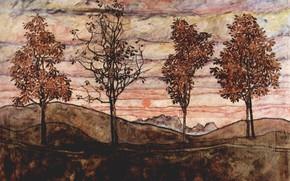 Картинка 1917, Эгон Шиле, Четыре дерева