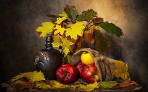 Картинка осень, листья, темный фон, стол, вино, яблоки, бутылка, букет, желтые, красные, фрукты, натюрморт, предметы, кленовые, …